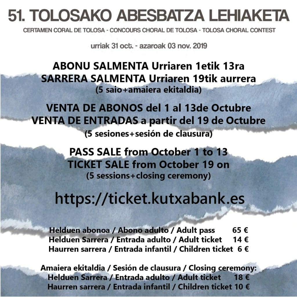 Tickets of the 51st Tolosa Choral Contest on sale 19