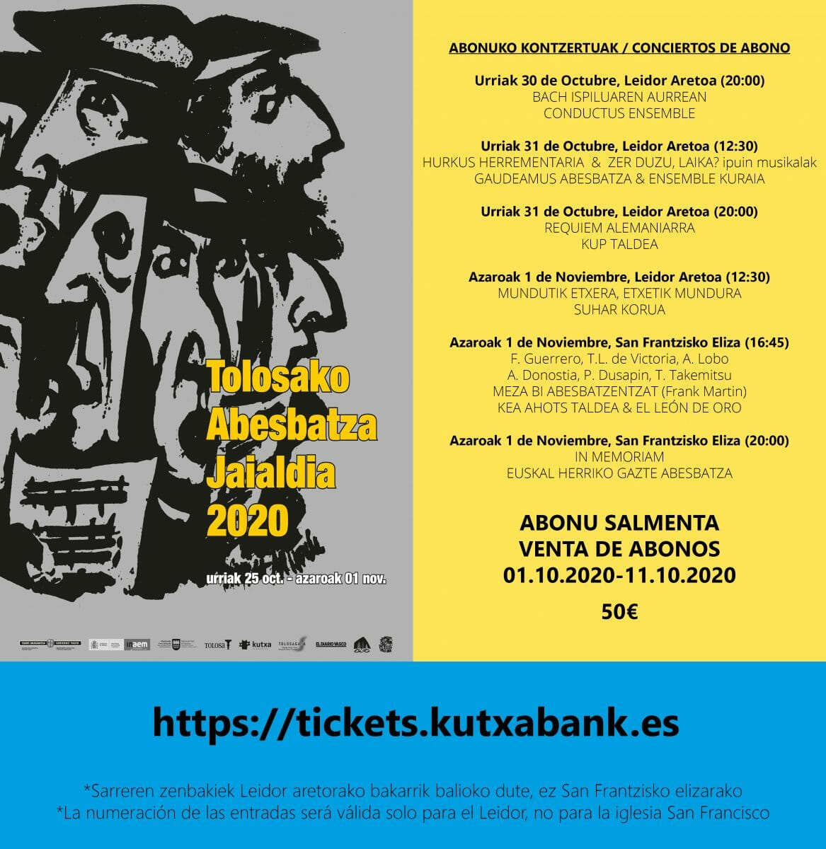 Tolosako Abesbatza Jaialdia 2020: Venta de Abonos desde el 1 al 11 de octubre 13